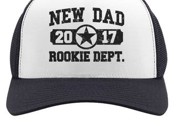 New Dad 2017 Rookie Department - New Father - Funny Baby Shower Gift Idea - Trucker Hat Mesh Cap