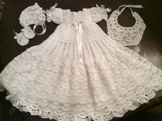 Baby Andrea Christening Gown Crochet Pattern Includes Bonnet