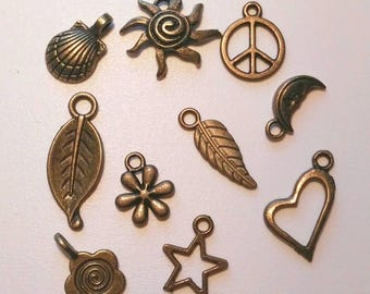 10 Antique Bronze Mixed Charms/Pendants