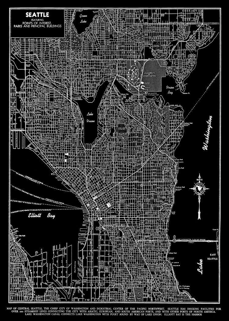Seattle Seattle Map Art Poster Seattle Street Map Black