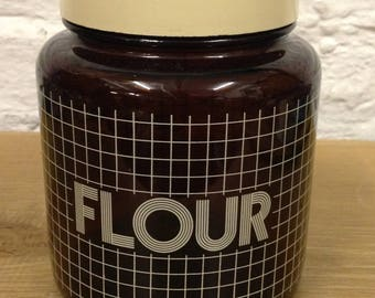 Vintage Rare Flour Kitchen, Canister, Brown Glass, Storage Jar, By Biltons CLP . Very Good Condition.