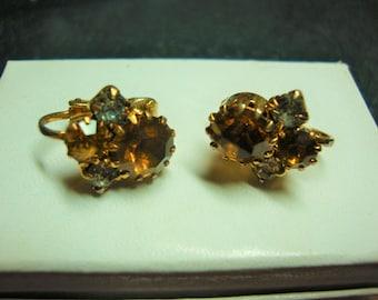 Vintage Topaz Crystal RhinestoneClip Earrings from Austria