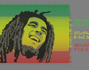 Bob Marley, machine embroidery design, three sizes, instant download