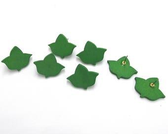 Wooden Earrings - Ivy/Green Leaf Studs