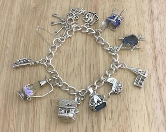 Vintage charm bracelet,vintage charm,large charm bracelet,silver charm bracelet,heavy charm bracelet,