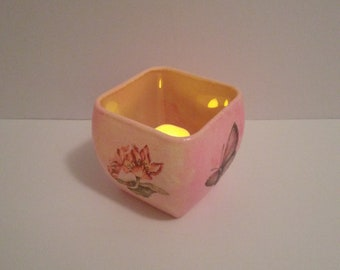 Blushing Butterfly LED Candle Holder
