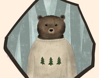 Bear in Cozy Winter Sweater
