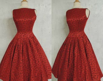 SALE Vintage 50s Dress / Holly Berry Red Black Brocade Rose Pattern Christmas Holiday Party Fit n Flare Full Sweep Dress S