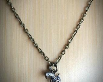 Dainty Revolver Necklace - Pistol charm on bronze chain