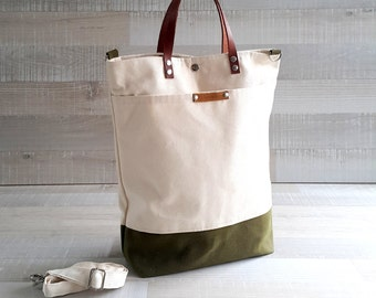 Comfy Unisex Tote, canvas tote bag, Natural Cream and army green waxed canvas, men tote bag, women tote bag, Christmas gift, Messenger Bag