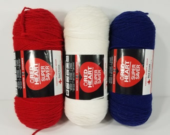 NIP lot of 3 skeins Red Heart cherry red white soft navy blue yarn 7 ounces / 364 yards each