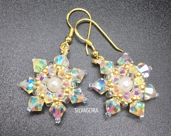 Snowflake Earrings with Swarovski elements 925 sterling silver gilded