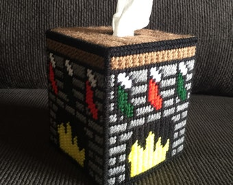 Plastic Canvas Tissue Box Cover - Christmas - TBC - Tissue Topper - Holiday - Fireplace - Stockings - Hand-Stitched