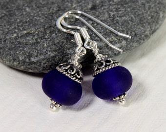 Midnight Blue Frosted Glass Earrings, Sterling Silver, Lampwork Jewelry, Cobalt blue Glass, Swedish Handmade Lampwork