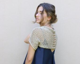 Gold shrug, golden bolero, hand knit shrug, formal shrug, hand knit crop cardigan, bridal shrug, wedding shrug, evening shrug