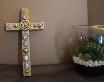Gold Wooden Cross Adorned with Beautiful Vintage Rhinestone Jewelry