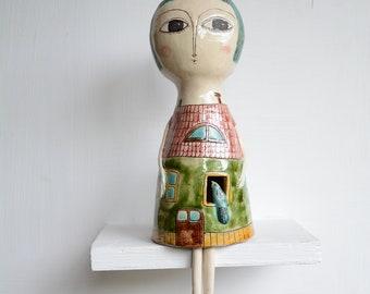 Art Doll, Figurine,Ceramic Sculpture,Wall art sculpture,One-of-a-kind doll, Ceramic doll, Handmade doll, Female sculpture, Story doll,