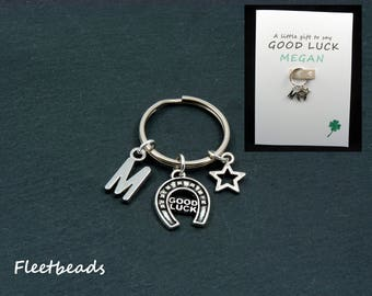 Good luck keyring, personalized keychain gift card, personalised good luck card, new job, exam, driving test, good luck, future success