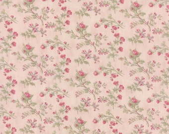 Pink Floral Fabric, 3 Sisters Favorites Moda 3770 12 Ballet Slipper, Cottage Chic Fabric, Pink Roses Quilt Fabric, Cotton