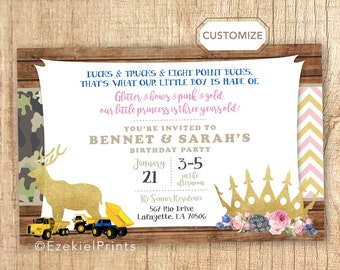 Dual Birthday Themes, Combined Birthday Invitation, Combined Party, Custom Themes, Brother/ Sister, Sister/ Sister, Brother/Brother