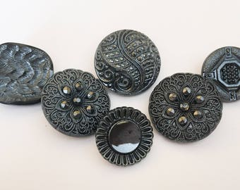 Metallic luster vintage glass button lot-6pc