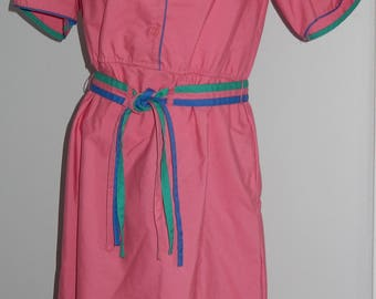 Vintage Pink Dress by Townhouse with Blue and Green Accents - Size 10P