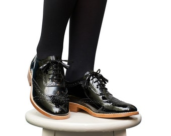 Black Oxford Shoes - Oxfords & Tie Shoes, Oxford Shoes Women, Handmade Brogues, Winter Shoes Office, Elegant Shoes Women, Fall Shoes