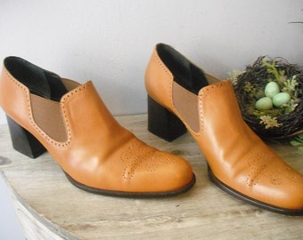 vintage CARAMEL Brown ANKLE BOOTS Western indie Raphael Salato Italy ... 40 ... 9 1/2 Women's