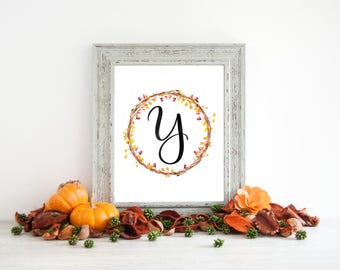 Digital Download - Monogram letter Y print - Letter Print - Floral Monogram - Initial Print - Wreath Initial Print - Letter Y print - Wreath