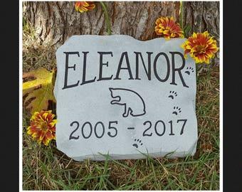 CAT MEMORIAL Stone - Personalized Garden Stone - Carved Rock - Garden Decor - Pet Memorial