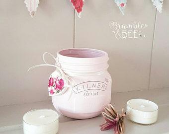 Pale Pink Handpainted and Decorated Kilner Jar