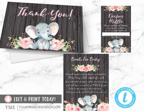 Elephant Baby Shower Book Request Card, Diaper Raffle, Thank You Card, Girl Elephant Jungle Baby Shower
