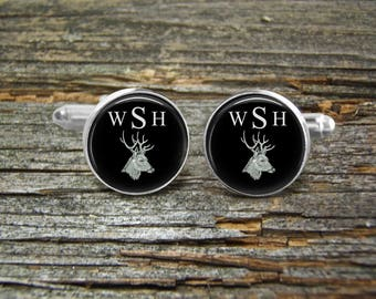Deer Stag Head Monogram Silver Gold-Cufflinks-Wedding- Cufflink Box-Jewelry Box-Keepsake-Gift-Man gift-USA-Men Gift-Hunter-Wildlife