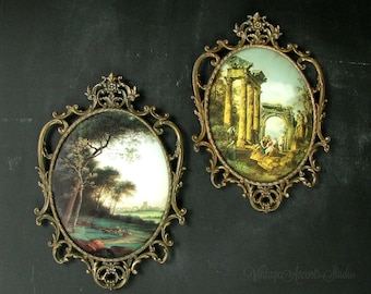 PAIR of EXTRA  LARGE Vintage Ornate Oval Picture Frames | Italian Scroll Cast Metal | Convex Bubble Glass | Romantic Decor | Made in Italy