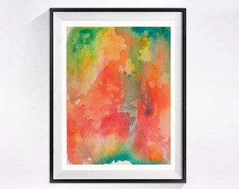 Bright Abstract Art Posters Print Modern Watercolor Paintings Colorful Pink Orange Home Decor A