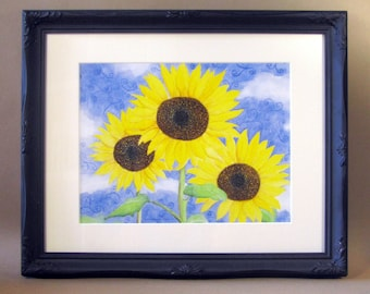 Sunflowers Giclee Print with Decorative Black Frame, Watercolor Sunflowers Painting, Housewarming Gift, Sunflowers Wall Art, Frame Included