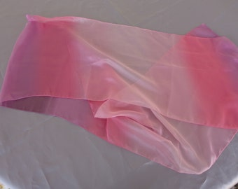 Vintage Silky Feel Chiffon Transparent 63 x 11 inch Pink Variegated Color Long Scarf  No damage - beautiful - Maker Unknown