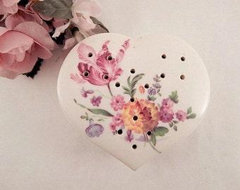 Pomander White Porcelain Heart Floral Design Potpourri Holder Vintage 1960's Inarco Ceramic Closet Atomizer Drawer Fragrance