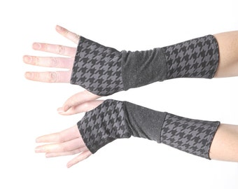 Grey jersey armwarmers, long fingerless gloves, grey and black patchwork armwarmers, stretchy fingerless gloves, MALAM