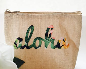 Hawaii Aloha Pouch ~ Aloha Case ~ Hawaii Pouch ~ Aloha Make-Up Case ~ Hawaiian Print Pouch ~ Hawaii Cosmetics Bag