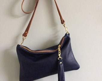 Navy blue leather handbag, simple black purse, leather evening bag, leather crossbody purse