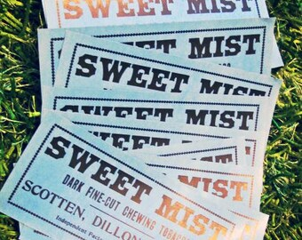 Sale 10 Vintage Unused Sweet Mist Tobacco Advertising Labels NOS Detroit Scotten Dillon Co. Stickers Label Smoking Ads