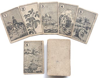 c.1865-1870 Rare Antique Lenormand Fortune Telling Cards