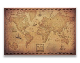 Cork board map etsy world map travel pin board antique aged cork push pin canvas golden aged style gumiabroncs Choice Image
