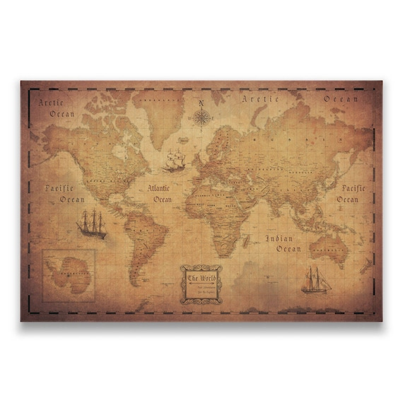 World map travel pin board antique aged cork push pin canvas like this item gumiabroncs Images