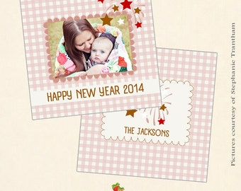 INSTANT DOWNLOAD 5x5 New Year Card Photoshop Template - CA369