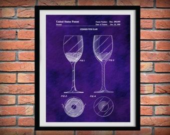 Patent 1988 Wine Glass - Wine Art Print Poster - Wall Art - Winery Wall Art - Bacchus - Dionysus - Wine Tour Art
