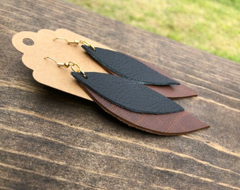 Dark Brown and Black Layered Genuine Leather Feather Earrings- 2.5 inch Dangle Earrings