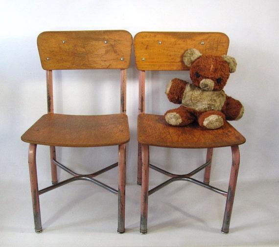 Legno vintage scuola e sedia metallo dimensione 14 Set