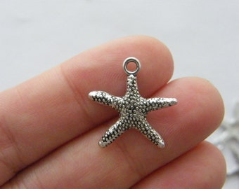 10 Starfish charms antique silver tone FF295